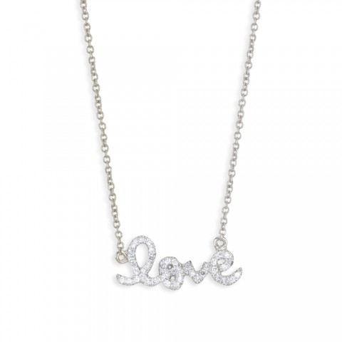 Sydney Evan Small Love 14 kt white gold and diamond necklace NTyJcru