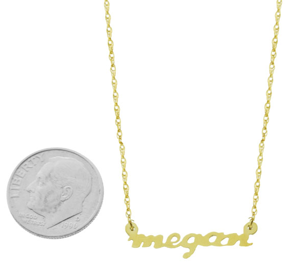 Small 14k gold nameplate necklace aloadofball Images