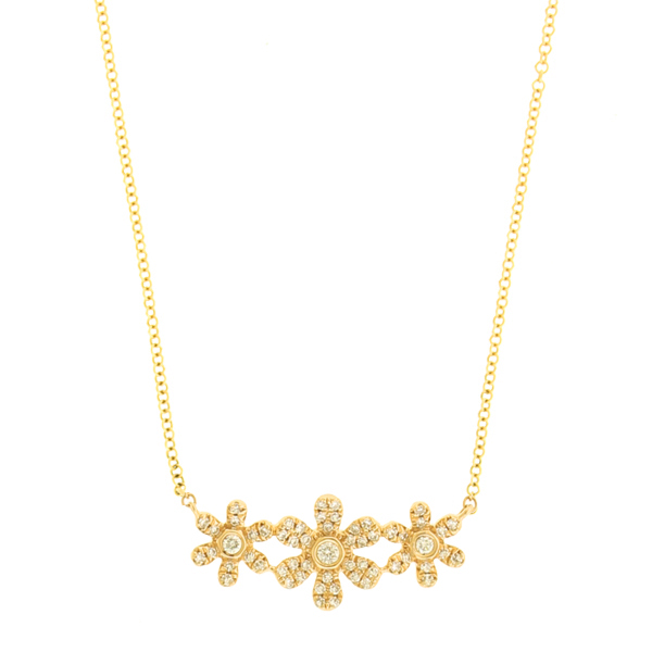 Jest jewels 14k yellow gold 3 diamond flower necklace mightylinksfo