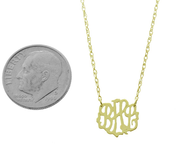 Petite 14k yellow gold monogram pendant mozeypictures Image collections
