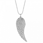 SYDNEY EVAN 14K White Gold and Diamond Medium Angel Wing Necklace