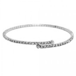 JEST JEWELS Thin Pave Rhinestone Silver Braclet