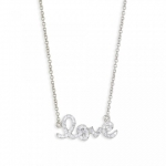 SYDNEY EVAN 14K White Gold and Diamond Small Love Necklace