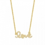 SYDNEY EVAN 14K Yellow Gold and Diamond 'Love' Necklace