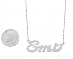 14K White Gold Nameplate Necklace