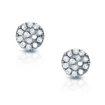 JEST JEWELS 14k White Gold Diamond Disc Earrings