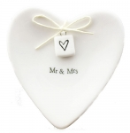 Mr & Mrs Porcelain Heart Jewelry Tray