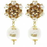 MIRIAM HASKELL Flower Drop Pearl Earrings
