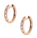 14k Rose Gold Pave Huggies