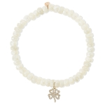 SYDNEY EVAN 14K Yellow Gold and Diamond Clover White Sapphire Bracelet