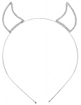 JEST JEWELS Silver Crystal Devil Horn Headband