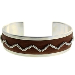 CHAN LUU Thrush Leather Sterling Silver Cuff Bracelet