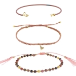 TAI Three Row Pink Agate Love Stack Bracelets