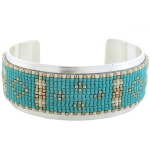 CHAN LUU Turquoise Mix Beaded Large Open Cuff