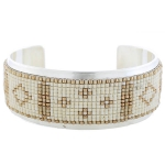CHAN LUU Cream Mix Beaded Open Silver Cuff