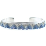 CHAN LUU Blue Grey Mix Beaded Open Silver Cuff
