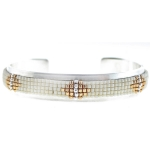 CHAN LUU White Mix Beaded Open Silver Cuff