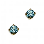 14k Yellow Gold March Birthstone 3mm Crystal Piercing Earrings