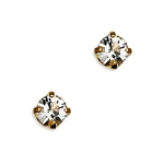 14k Yellow Gold April Birthstone 3mm Crystal Piercing Earrings