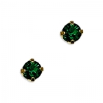 14k Yellow Gold May Birthstone 3mm Crystal Piercing Earrings