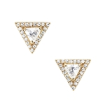 JEST JEWELS 14k Gold White Topaz Pave Diamond Triangle Earrings