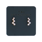 TAI 5 CZ Gold Climber Stud Earrings