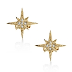 SYDNEY EVAN 14K Yellow Gold Diamond Star Burst Stud Earrings