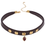 CHAN LUU Garnet Pendant Choker Wine Colored Leather
