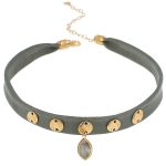 JEST JEWELS Labradorite Pendant Choker Green Leather