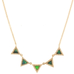 JEST JEWELS 14k Rose Gold 5 Triangle Necklace