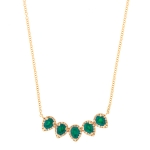 JEST JEWELS 14k Rose Gold 5 Diamond Emerald Teardrop Necklace