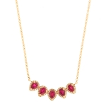 JEST JEWELS 14k Rose Gold 5 Diamond Ruby Teardrop Necklace