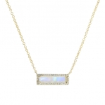 JEST JEWELS 14k Yellow Gold Moonstone Diamond Bar Necklace new