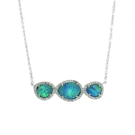 JEST JEWELS 14k White Gold Opal Diamond Necklace