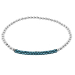 JEST JEWELS Sterling Silver Turquoise CZ Bar Bracelet