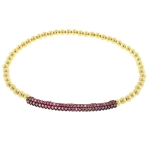 JEST JEWELS 14k Gold Vermeil Pink CZ Bar Bracelet