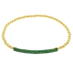 JEST JEWELS 14k Gold Vermeil Green CZ Bar Bracelet