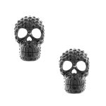 JEST JEWELS Black Skull Crystal Stud Earrings