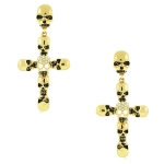 JEST JEWELS Gold Skull Cross Earrings