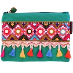 JEST JEWELS Teal Tassel Zipper Pouch