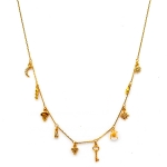 TAI Gold Key Moon Flower Charm Necklace