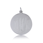 JEST JEWELS Sterling Silver Engraved Large Disc Charm