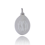 JEST JEWELS Sterling Silver Engraved Drop Oval Charm