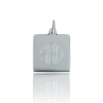 JEST JEWELS Sterling Silver Engraved Small Square Charm