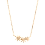 JEST JEWELS 14k Rose Gold 3 Diamond Starburst Necklace