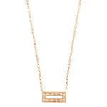 JEST JEWELS 14k Rose Gold Diamond Baguette Rectangle Necklace