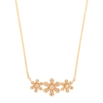 JEST JEWELS 14k Rose Gold 3 Diamond Flower Necklace