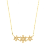 JEST JEWELS 14k Yellow Gold 3 Diamond Flower Necklace