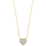 JEST JEWELS 14k Yellow Gold Opal Heart Diamond Necklace