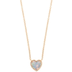 JEST JEWELS 14k Rose Gold Opal Heart Diamond Necklace